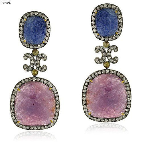 Natural Ruby, Blue Sapphire & Sparkling Natural Diamonds Earrings in Silver