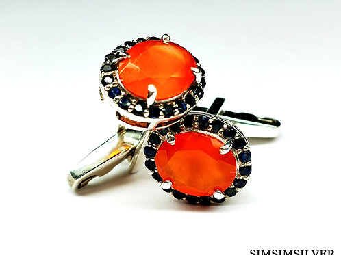 Cufflinks with Good Quality Natural Carnelian & Blue Sapphires 925 Sterling S