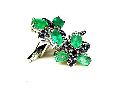 Classic Cufflinks in Natural Emeralds & Natural Blue Sapphire in Sterling Silver