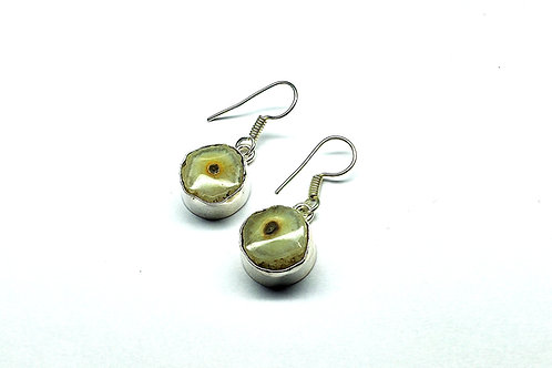 Glam Silver Simulated Earrings With Natural Gemstone