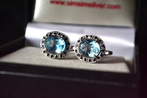 Natural Blue Topaz  &  Blue Sapphire Close Cluster cufflink  925 Sterling Silver