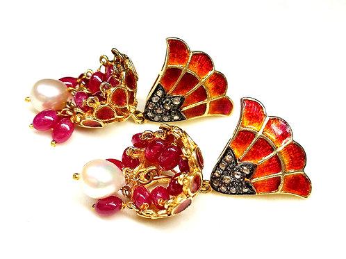 Pair of Jhumki Earrings with Diamonds & Orange Enamel in 925 Sterling Silver