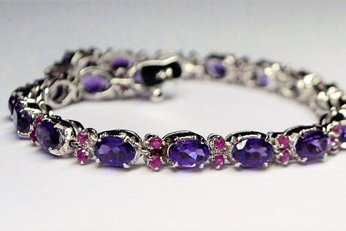 Natural Amethyst & Ruby Bracelet in 925 Sterling Silver