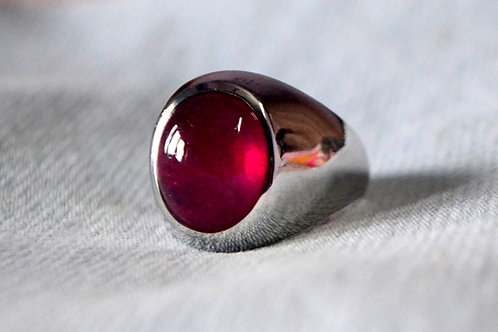 Natural Red Ruby gemstone custom made design in 925 Sterling Silver Bold Ring