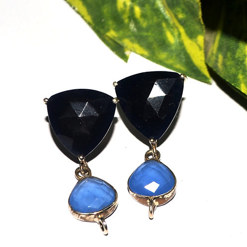 Natural Black Onyx & Blue Stone Earrings in 925 Sterling Silver