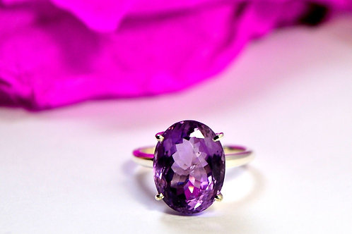 Natural Amethyst Ring in 925 Sterling Silver