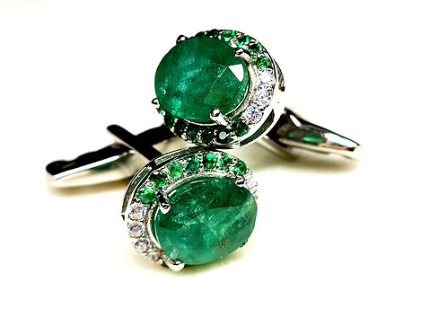Statement Cuff-Links with Natural Emeralds & Zircons in 925 Sterling Silver