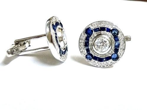 Natural Blue Sapphire Cluster cufflink  925 Sterling Silver