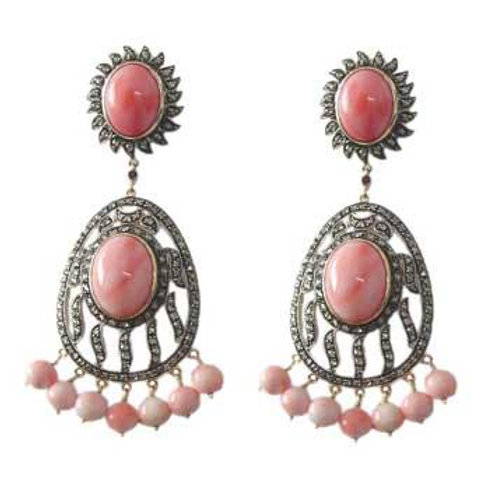 Beautiful Handmade Earrings with Indian Opal & Diamonds in Silver