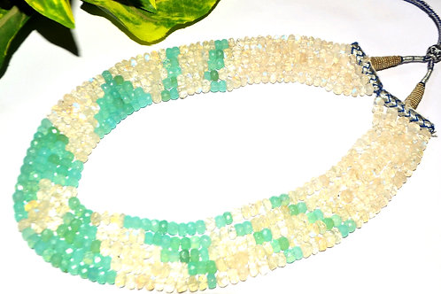 Original Gemstones Green White Beads