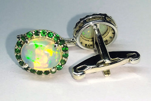 Stylish Natural Oval Opal & Natural Emerald Cuff-links in 925 Sterling Silver