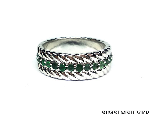 Charming Unisex Ring with Natural Emeralds in 925 Sterling Silver