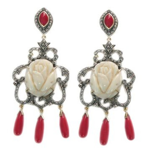 Handmade Earrings in Silver with White Onyx, Natural Ruby & Sparkling Diamonds
