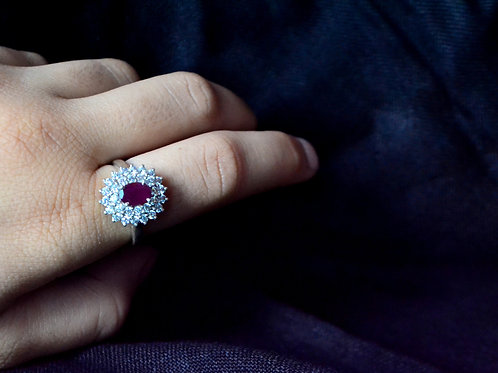 Natural Ruby with clustered design in 925 Sterling Silver Ring