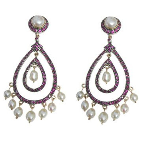 Natural Attractive White Topaz & Diamond Earrings in 925 Sterling Silver