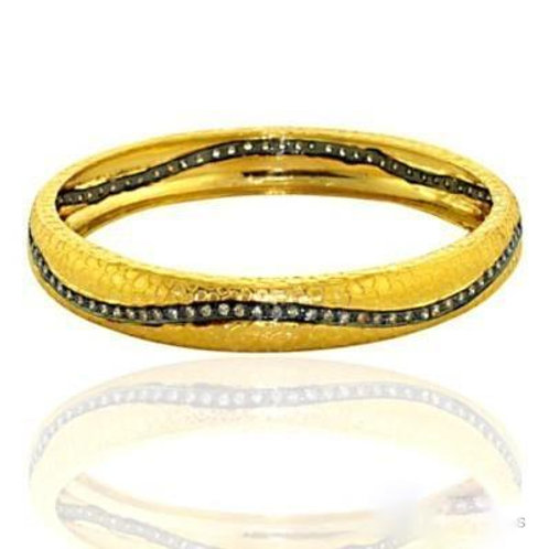 Stylish Bangle with Natural Diamonds in Gold-Plated Silver