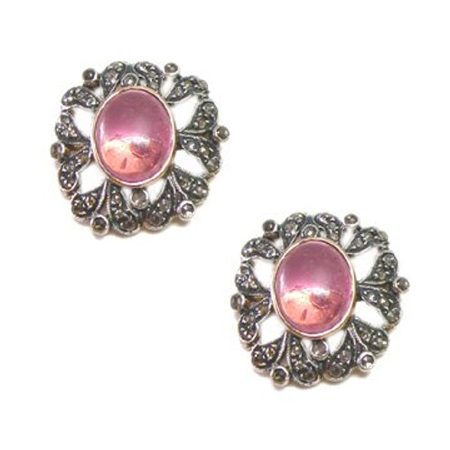 Studs in Natural Tourmaline Framed by Sparkling Diamonds in Silver
