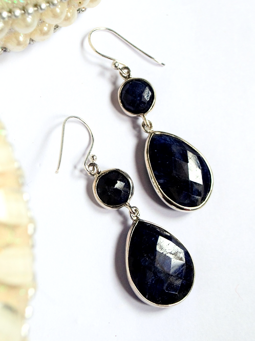 Natural Attractive Blue Gemstone Earrings in 925 Sterling Silver