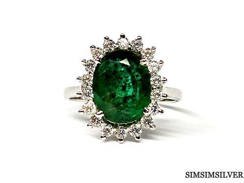Glamorous Ring with Natural Emerald & Cz in 925 Sterling Silver