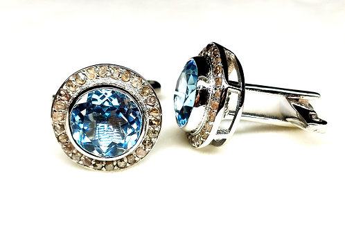 Elegant Cufflinks with Natural Blue Topaz & Sparkling Diamonds in SterlingSilver
