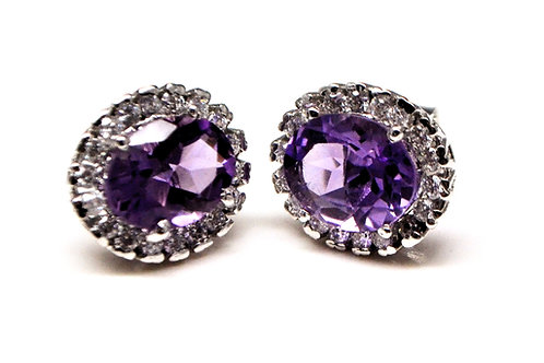 Beautiful Studs with Natural Amethyst & Zircon in 925 Sterling Silver