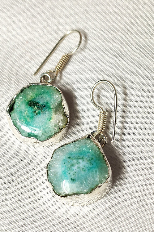 Glam Silver Simulated Earrings With Natural Sea Green Gemstone