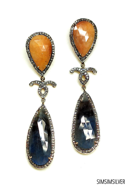 Victorean Earrings with Natural Sapphires & Diamonds in Sterling Silver