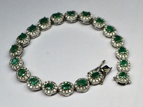 Natural Emerald and Zircon Bracelet in 925 Sterling Silver