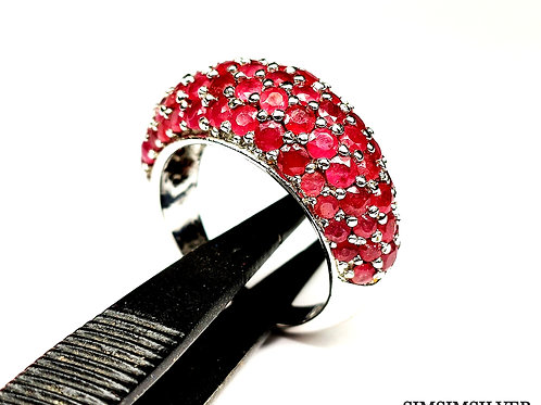 Beautiful Royal Ring with Sparkling Natural Ruby in 925 Sterling Silver
