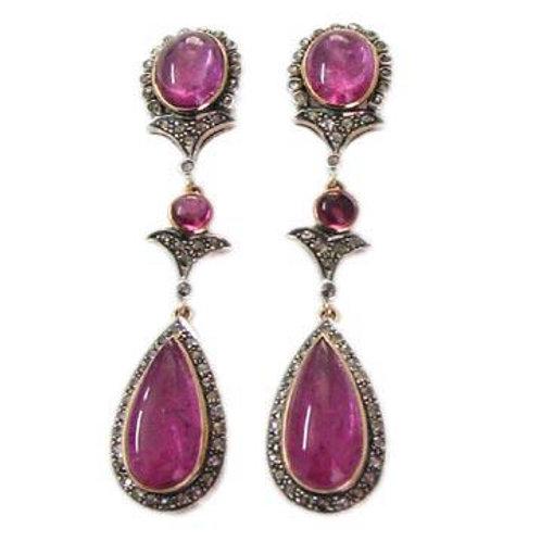 New Natural Ruby & Diamond Handmade Earrings in Silver