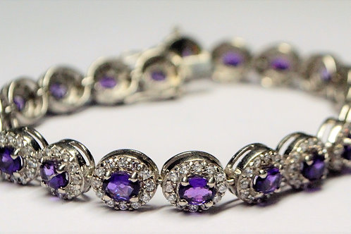 Natural Amethyst and Cubic Zircon Bracelet in 925 Sterling Silver