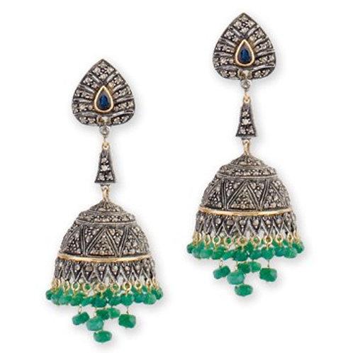 Natural Emerald,Blue Sapphire & Diamonds  Handmade Earrings in Silver