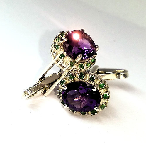 Oval Cut Natural Amethyst & Natural Emerald Cuff-links in 925 Sterling Silver