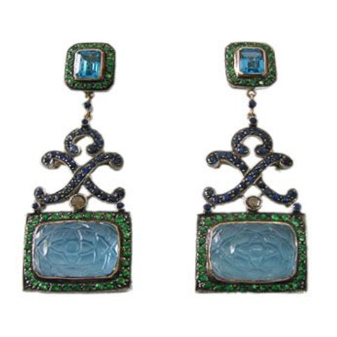 Natural Blue Sapphire,Carved Chalcedony,Blue Topaz & Diamond Earrings in Silver