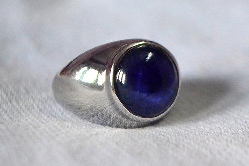 Natural Blue Sapphire gemstone custom made design 925 Sterling Silver Bold Ring