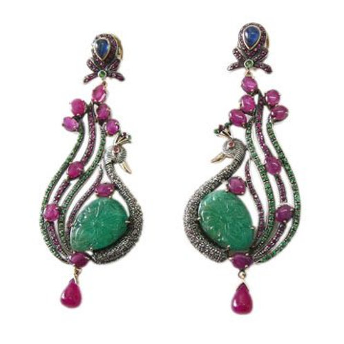 Natural Emerald, Ruby, Blue Sapphire & Diamond Handmade Earrings in Silver