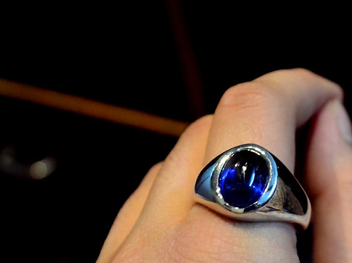 Natural Blue Kyanite gemstone custom made design 925 Sterling Silver Bold Ring