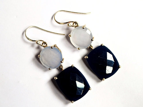 Magnificent Natural Black & White Gemstone Earrings in 925 Sterling Silver