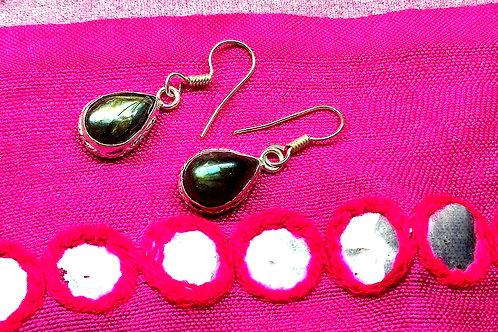 Glam Silver Simulated Earrings With Natural Labradorite Gemstone