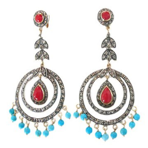 Handmade Earrings with Natural Ruby, Turquoise & Diamonds in Silver