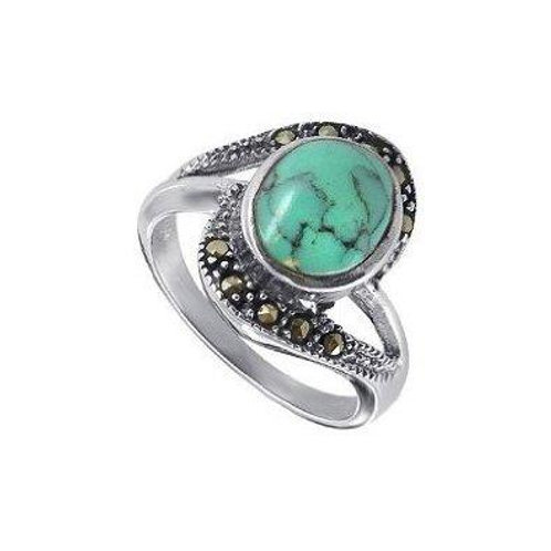 Natural Turquoise & Black Diamonds Handmade Stunning Ring in Silver