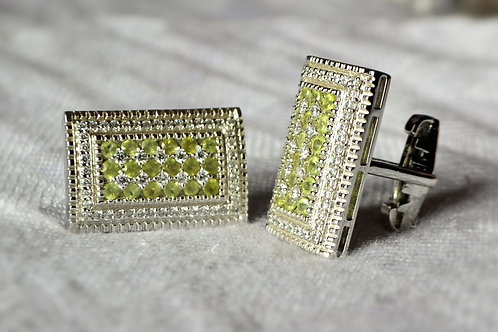 Natural Periodot in Big Cufflink rectangular design 925 Sterling Silver
