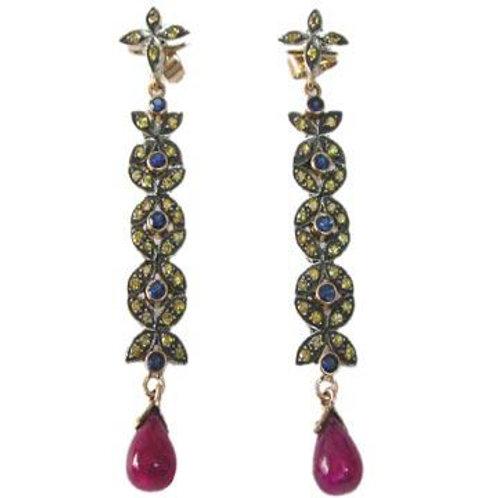 Natural Ruby,Blue Sapphire & Diamond Handmade Earrings in Silver