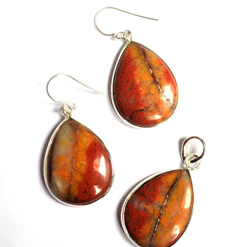 Natural Gemstone Rusty touch Classy Earrings with Pendant in 925 Sterling Silver