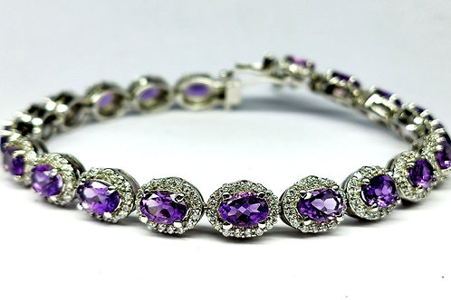 Charming Bracelet with sparkling Natural Amethyst & Zircons in Sterling Silver