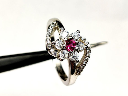 Natural Pink Tourmaline & Zircon Women New trendy Ring in 925 Sterling S