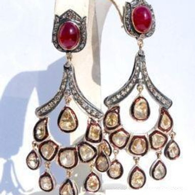 Natural Ruby,Diamonds & White Topaz Handmade Earrings in Silver