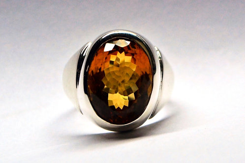 Good Quality Oval Cut Natural Citrine Elegant Men;s Ring in 925 Sterling Si