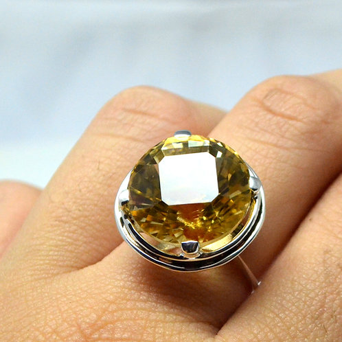Ethnic Citrine Women Ring in 925 Sterling Silver