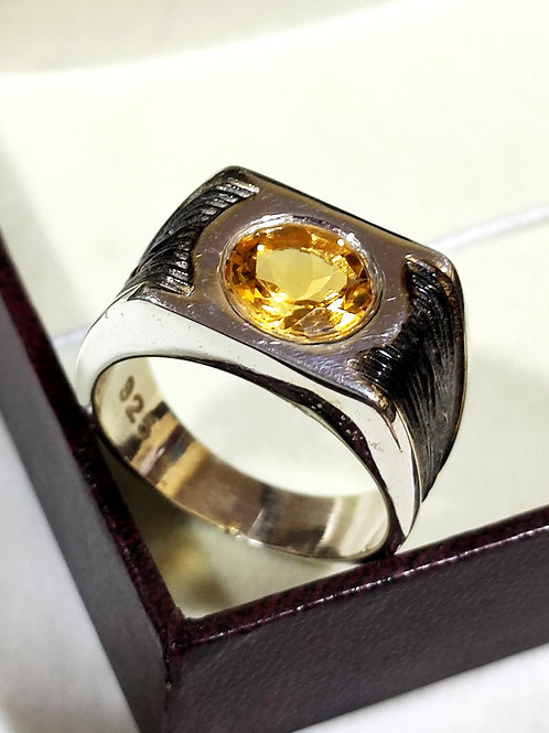 Natural Citrine Statement  Men's Ring in 925 Sterling Silver